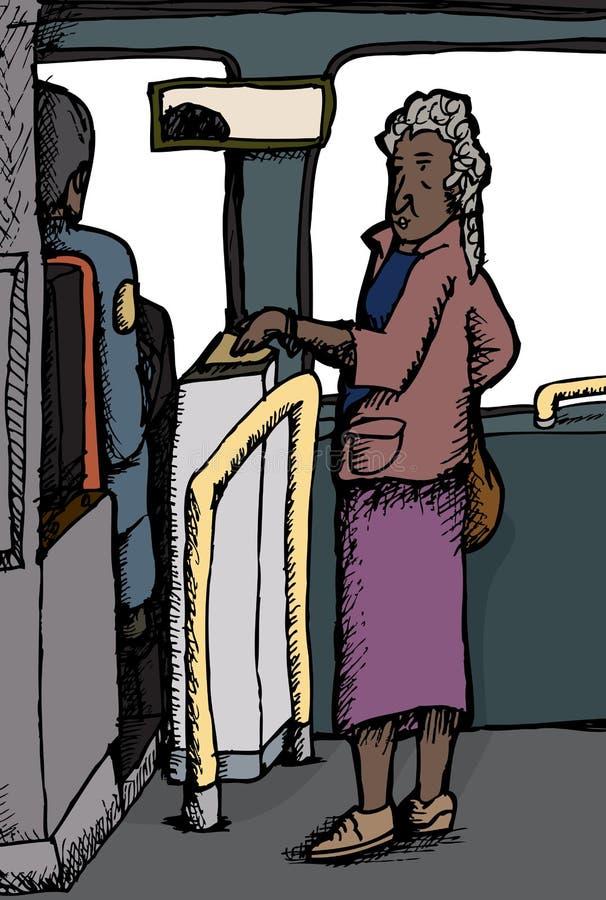 Mujer madura que paga precio de autobús libre illustration