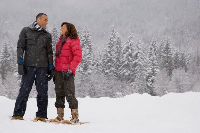 Mujer madura que se coloca en la nieve imagenes de archivo