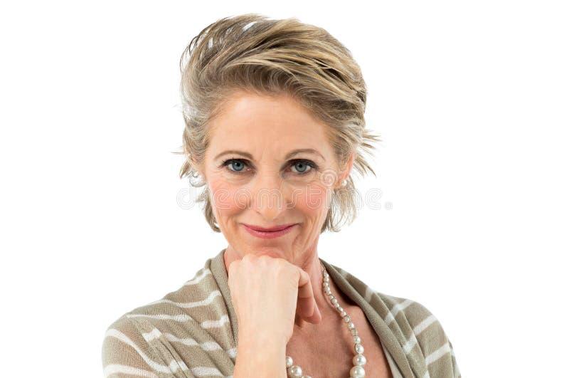 Mujer madura satisfecha fotografía de archivo