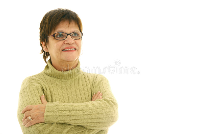 Mujer madura sonriente en blanco fotos de archivo