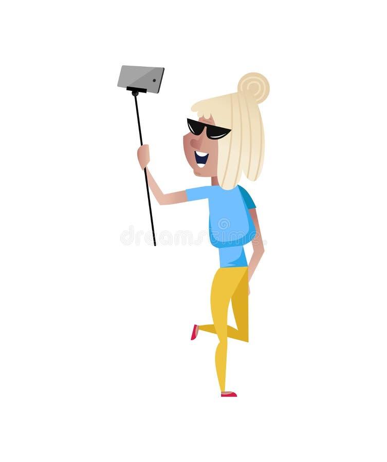 Mujer madura sonriente que hace el carácter del selfie ilustración del vector