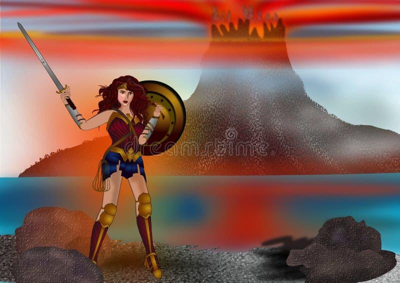 Mujer Maravilla y el fondo de la montaña