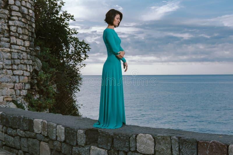 Mujer marrón joven romántica del pelo que lleva al Dr. elegante del vestido de la moda imagen de archivo