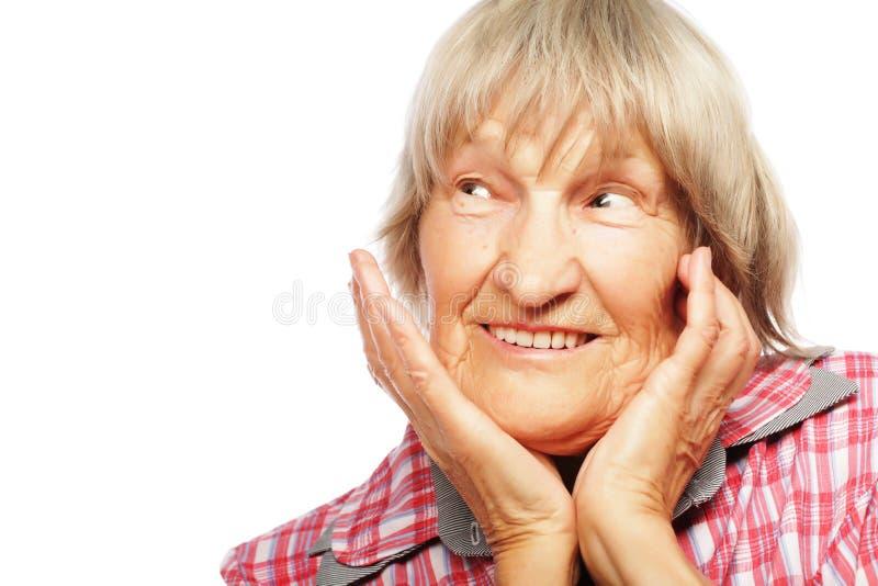 Mujer mayor aislada en blanco fotos de archivo libres de regalías
