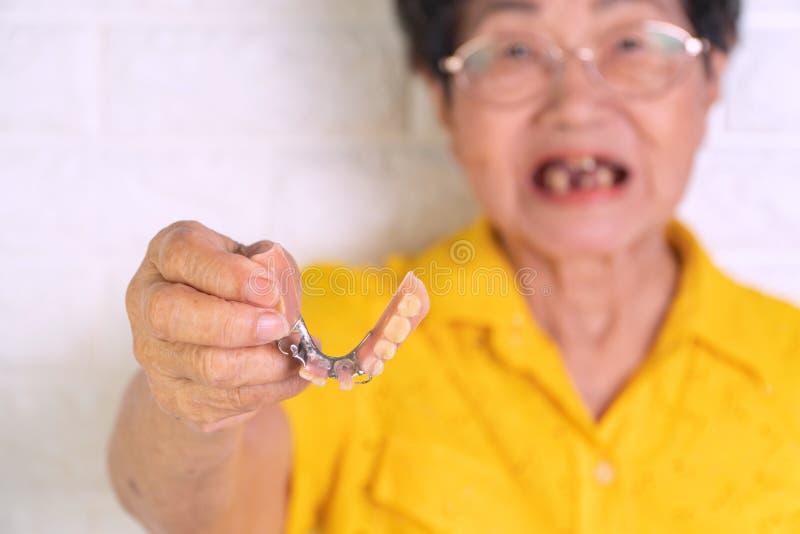 Mujer mayor asiática durante 70 años que sostienen las dentaduras a disposición Dentaduras para los dispositivos prostéticos cons fotografía de archivo libre de regalías
