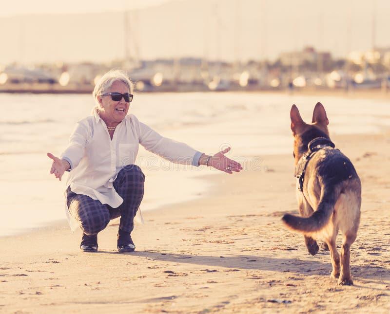 Mujer mayor atractiva feliz con su perro alemán del shepard que juega en la playa en la puesta del sol del otoño imagenes de archivo