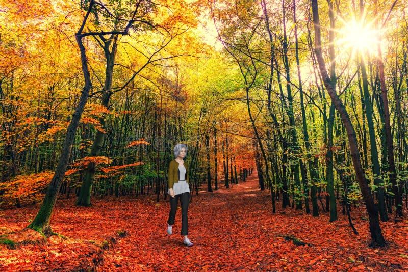 Mujer mayor caminando, senderismo, bosques fotografía de archivo