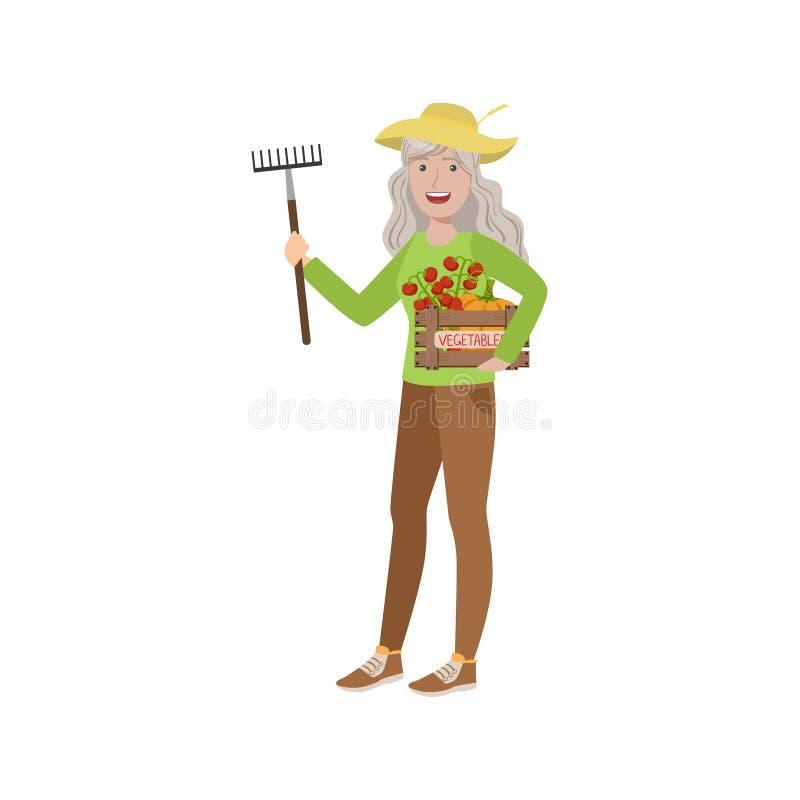 Mujer mayor con el rastrillo y el cajón de verduras stock de ilustración
