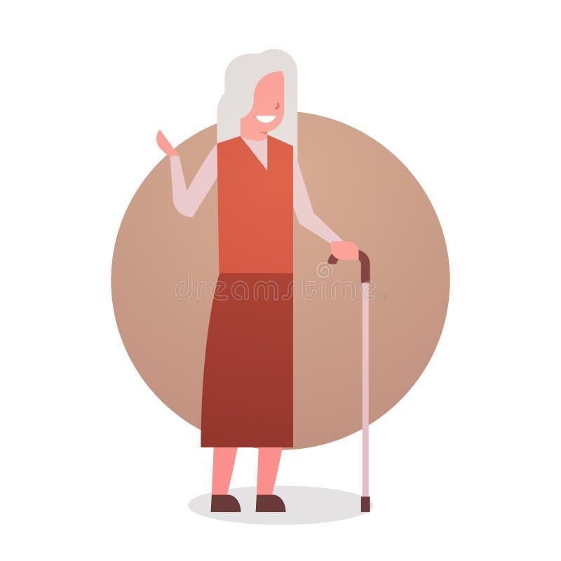 Mujer mayor con la señora sonriente feliz de la longitud de Gray Hair Female Icon Full de la abuela del palillo ilustración del vector