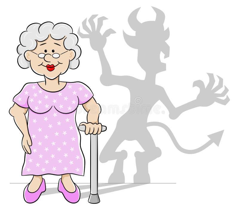 Mujer mayor con su sombra del diablo ilustración del vector