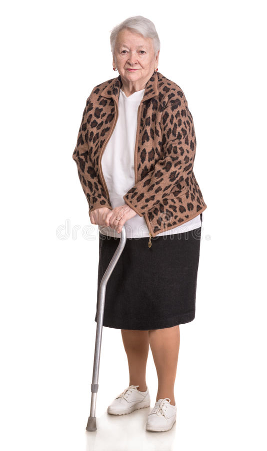 Mujer mayor con un bastón imagen de archivo libre de regalías
