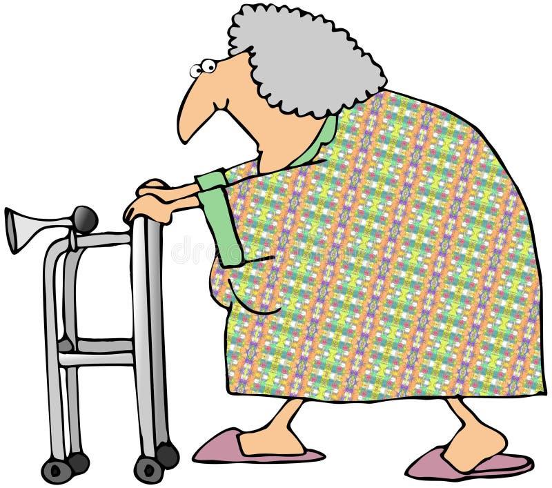 Mujer mayor con un caminante stock de ilustración