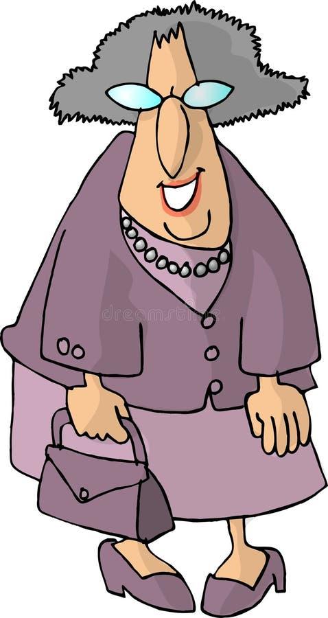 Mujer mayor con un monedero ilustración del vector