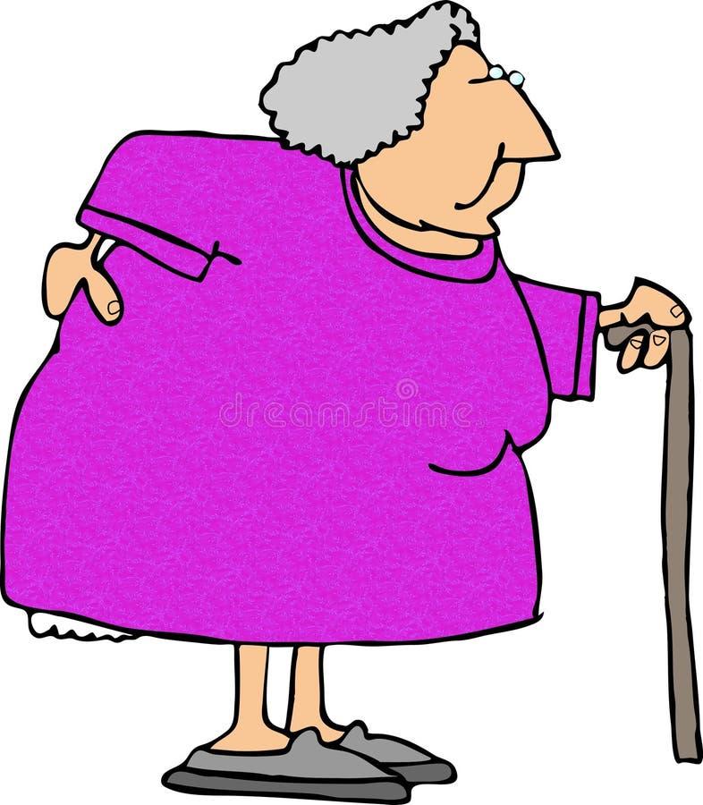 Mujer mayor con una parte posterior dolorida ilustración del vector