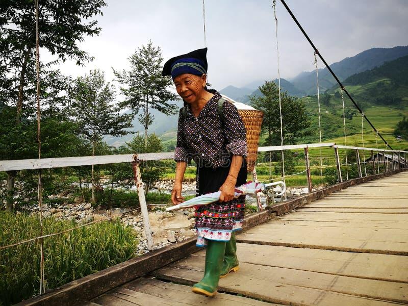 Mujer mayor de Hmong que camina en un puente de ejecución de madera fotografía de archivo libre de regalías
