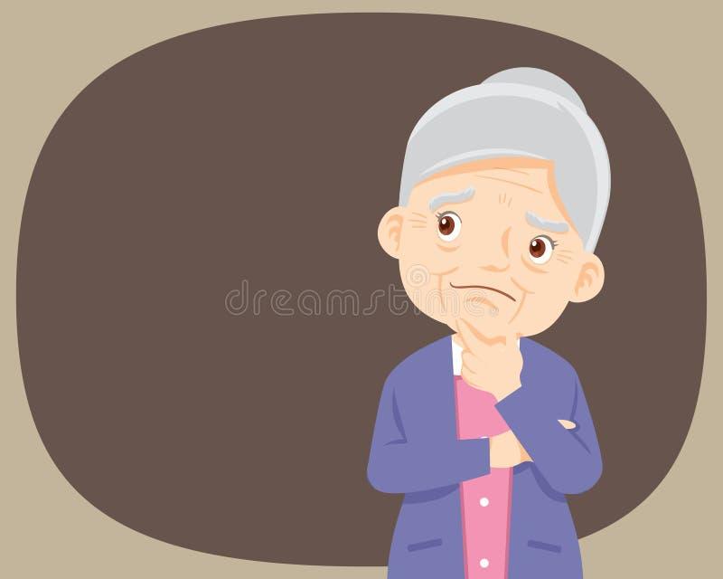 Mujer mayor de pensamiento que mira para arriba en vacío o en blanco El hombre piensa en problema stock de ilustración