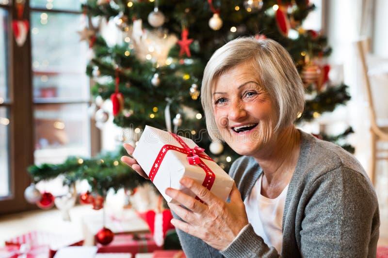 Mujer mayor delante del árbol de navidad con el presente fotografía de archivo libre de regalías