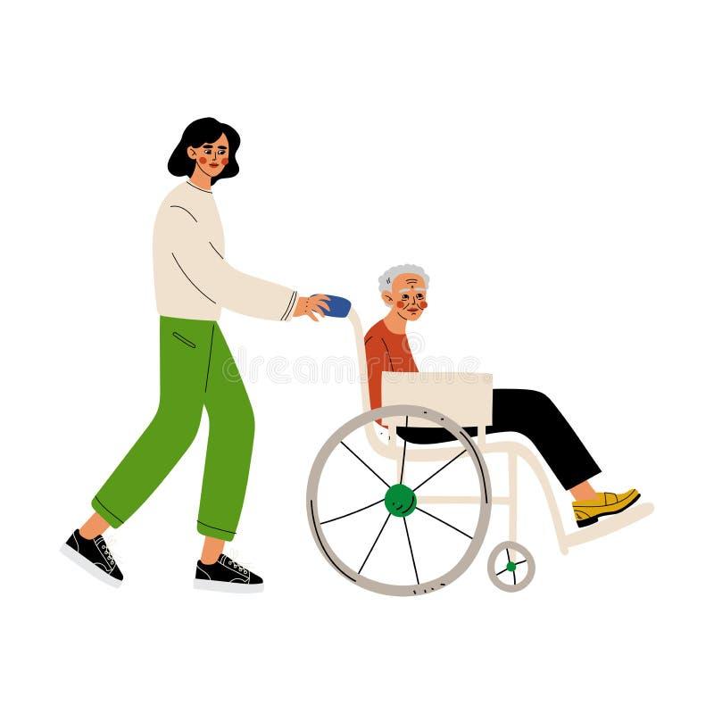 Mujer mayor discapacitada en silla de ruedas, la ayuda masculina del voluntario su, el asistente social, ofrecerse voluntariament stock de ilustración