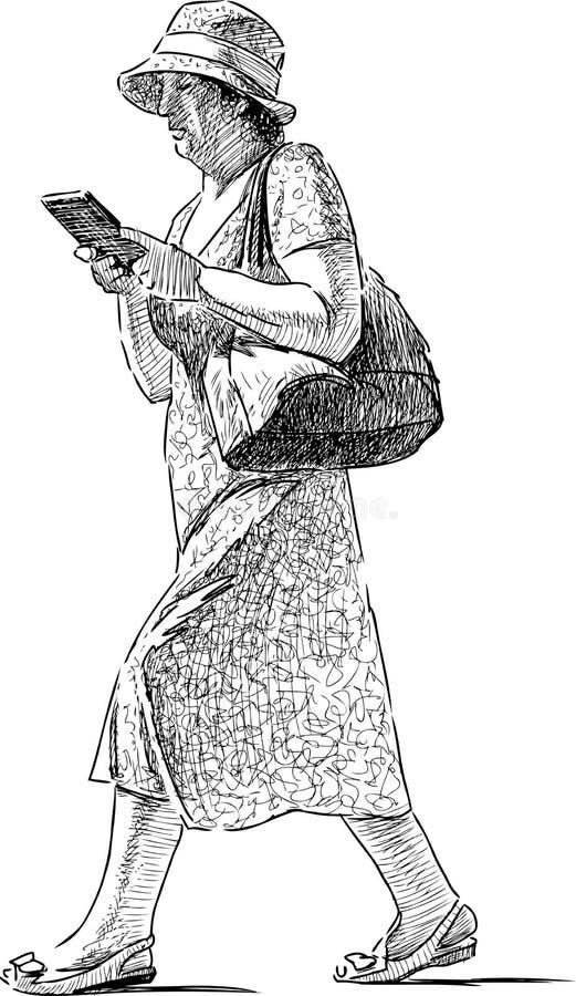 Mujer mayor en el paseo libre illustration