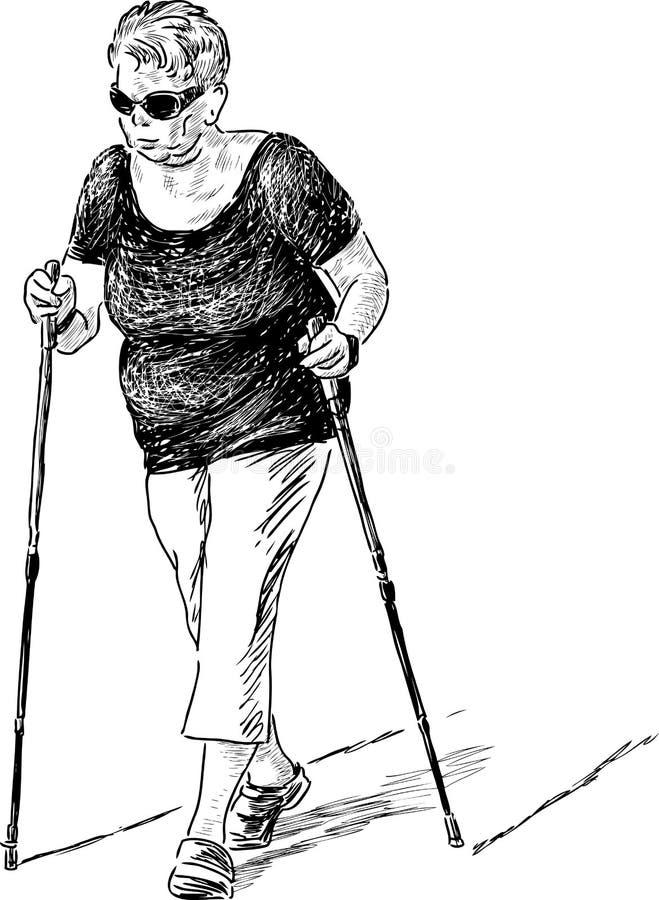 Download Mujer Mayor En El Paseo Nórdico Ilustración del Vector - Ilustración de walking, trazado: 44854254