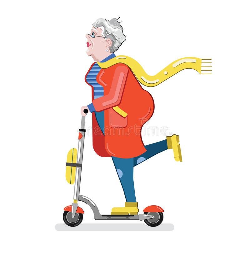 Mujer mayor en la vespa Silueta de la abuela Vieja mujer progresiva Ejemplo moderno del vector del estilo plano aislado en b blan stock de ilustración