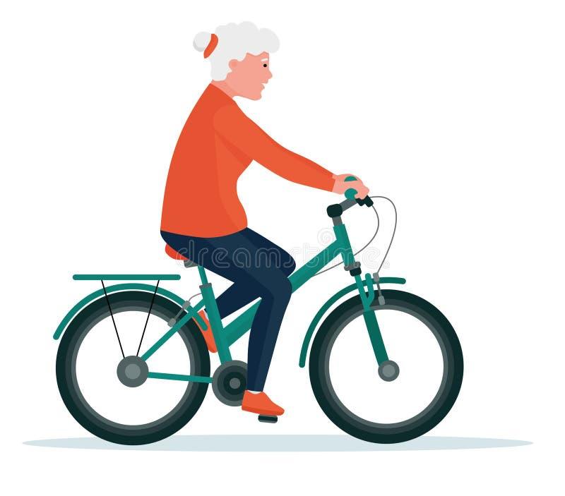 Mujer mayor en paseo del ciclo Forma de vida sana Sistema plano del vector del ejemplo de la historieta Sistema activo del concep stock de ilustración