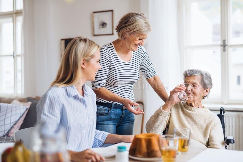 Mujer mayor en silla de ruedas con la familia que se sienta en la tabla en casa, bebiendo imágenes de archivo libres de regalías