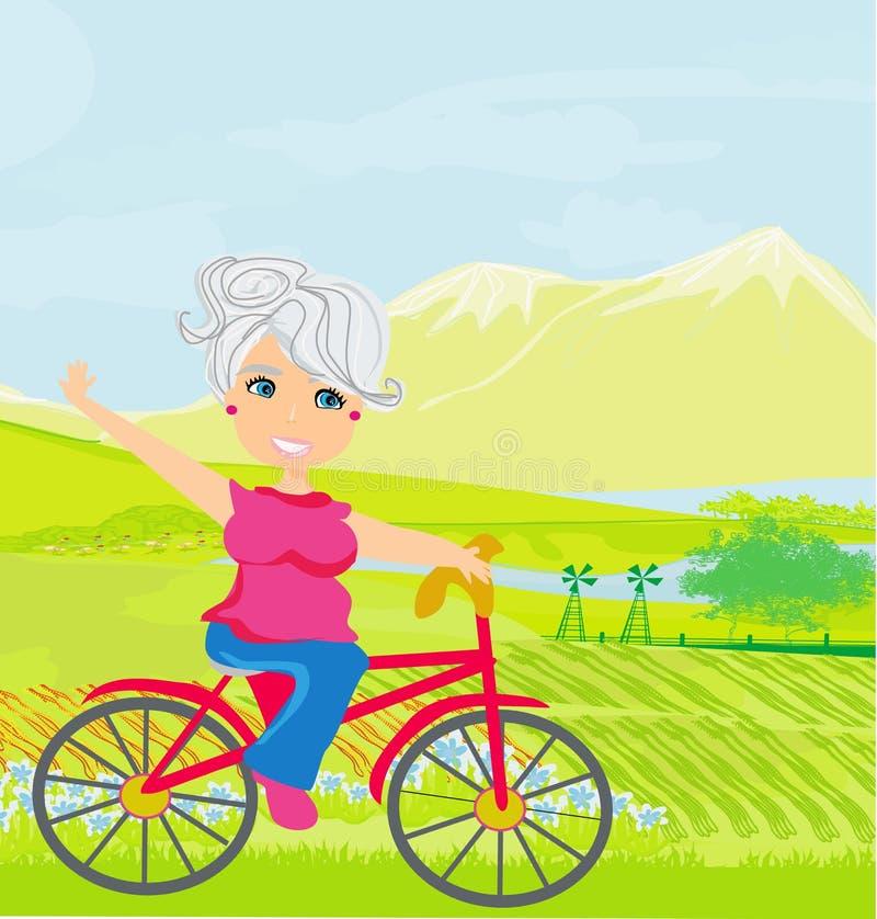 Mujer mayor en una bicicleta ilustración del vector