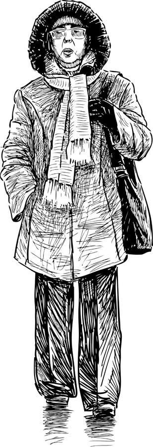 Mujer mayor en una calle de la ciudad stock de ilustración