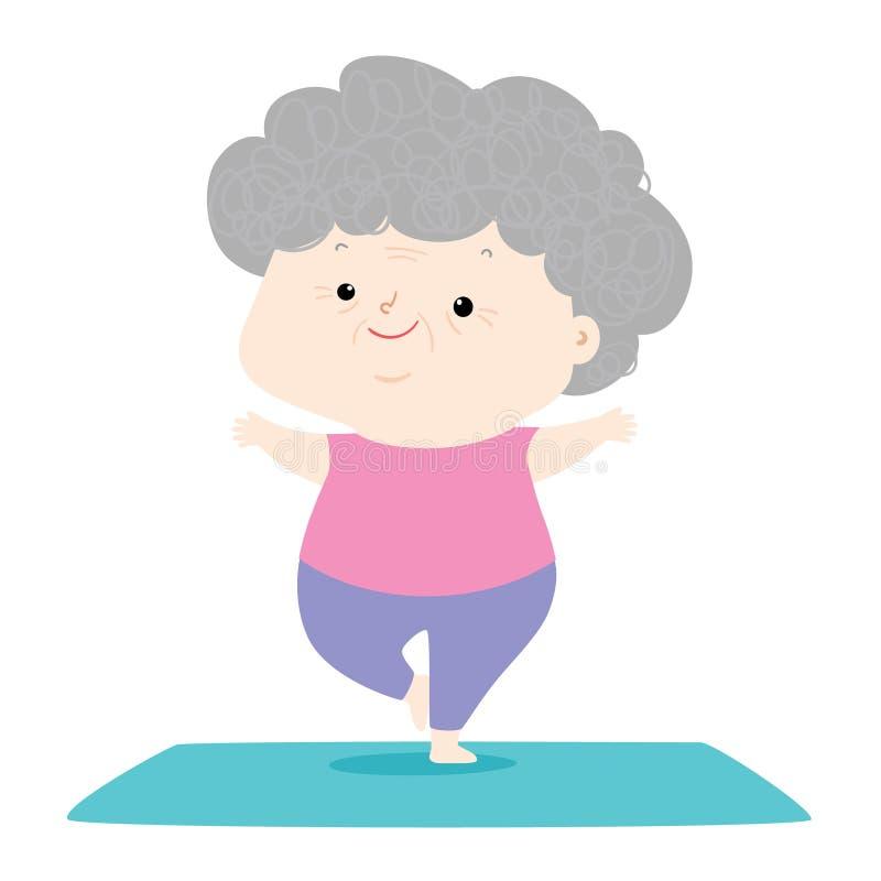 Mujer mayor hacer yoga fotografía de archivo