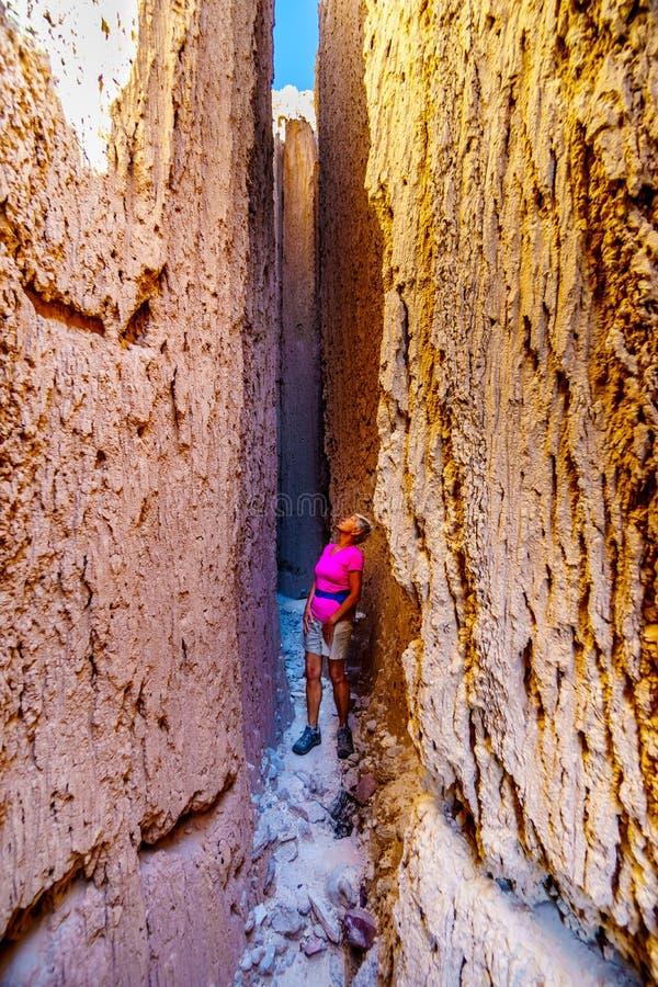Mujer mayor haciendo senderismo en los espectaculares Cañones de la Plaza Catedral en el Desierto de Nevada, Estados Unidos fotos de archivo