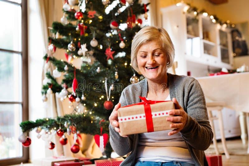 Mujer mayor hermosa delante del árbol de navidad con el presente fotografía de archivo