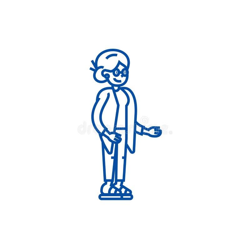 Mujer mayor, línea concepto de la abuela del icono Mujer mayor, símbolo plano del vector de la abuela, muestra, ejemplo del esque libre illustration