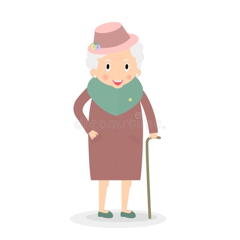 Mujer mayor linda con el bastón Abuela en sombrero Señora mayor en paseo Vector, ejemplo ilustración del vector