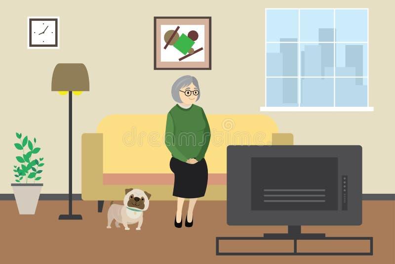 Mujer mayor o abuela de la historieta en casa que ve la TV con el perro, interior nacional con muebles ilustración del vector