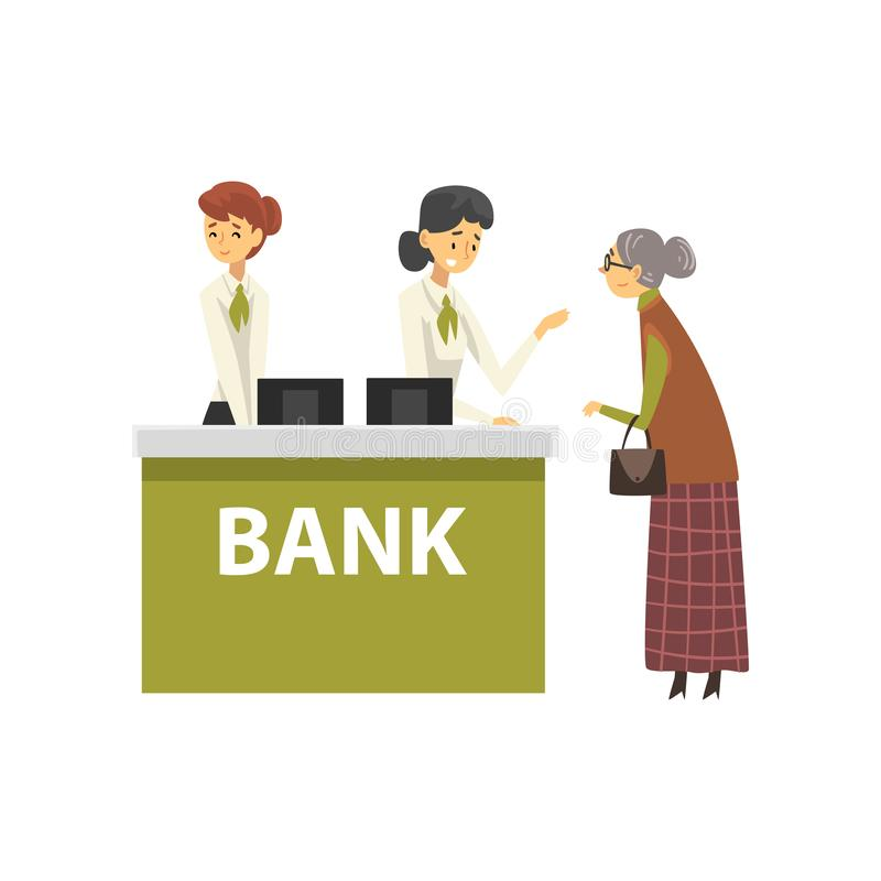 Mujer mayor que consulta en el encargado, ejemplo del vector del cliente de la reunión del servicio de la recepción de la oficina stock de ilustración