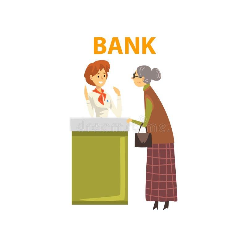 Mujer mayor que consulta en el encargado en la oficina del banco, trabajador de sexo femenino del banco que proporciona servicios stock de ilustración