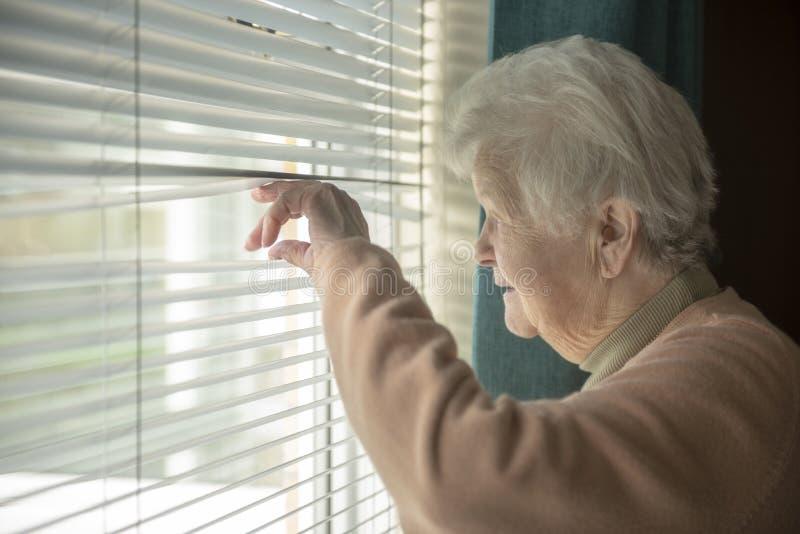 Mujer mayor que espía a través de ventana fotos de archivo libres de regalías