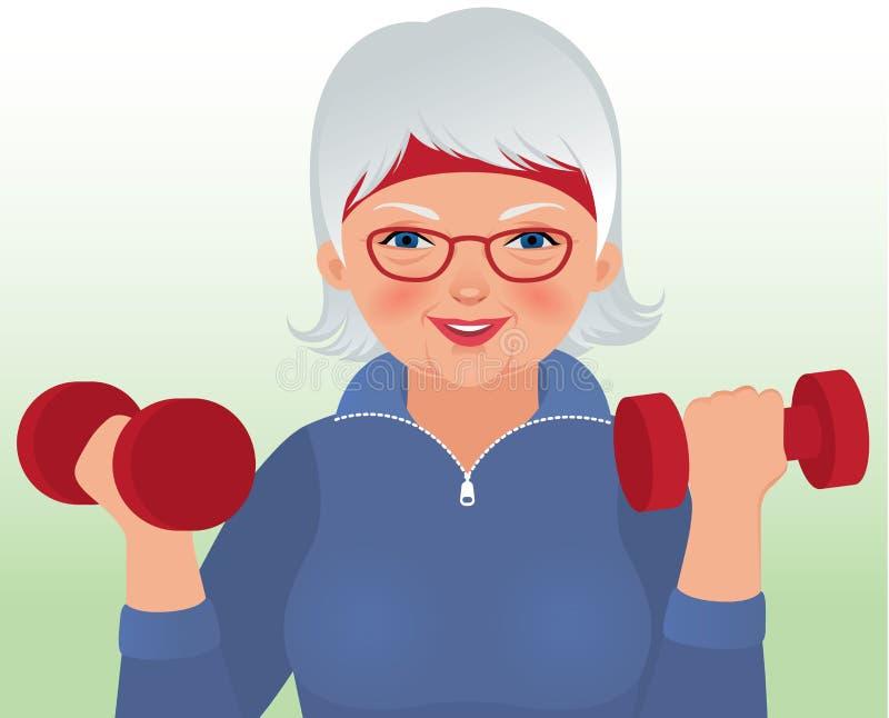 Mujer mayor que hace aptitud stock de ilustración