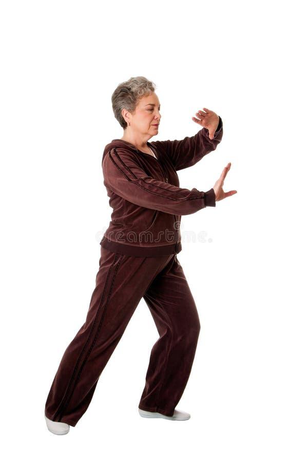 Mujer mayor que hace ejercicio de la yoga de la ji del Tai imagenes de archivo