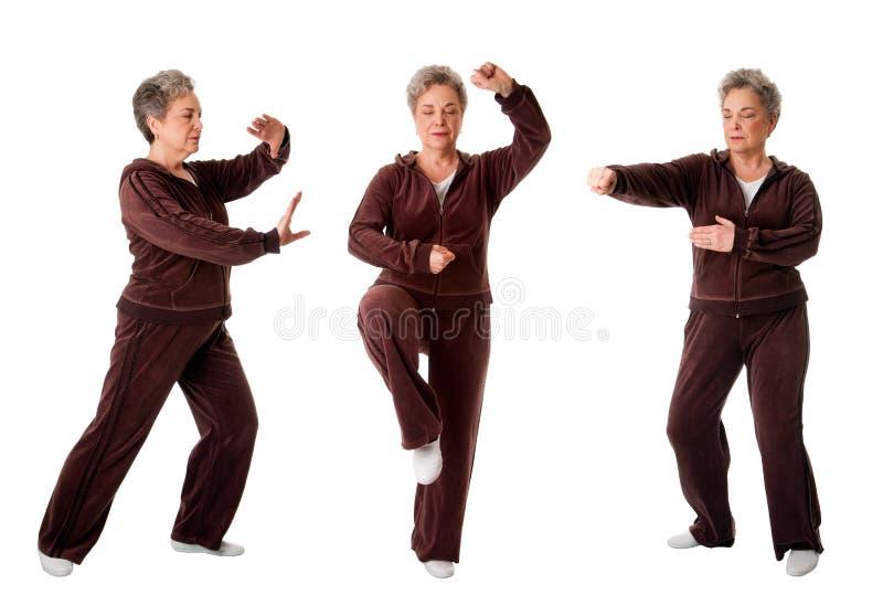 Mujer mayor que hace ejercicio de la yoga de la ji del Tai foto de archivo libre de regalías