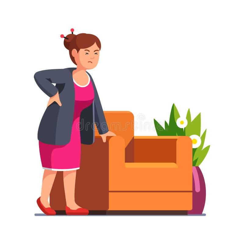Mujer mayor que lleva a cabo su detrás sufrimiento de dolor stock de ilustración