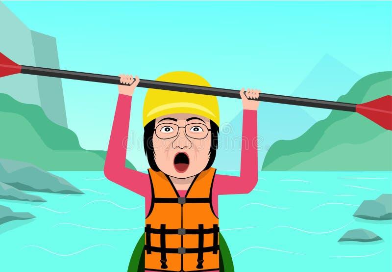 Mujer mayor que se divierte en el agua que transporta en balsa, vector libre illustration