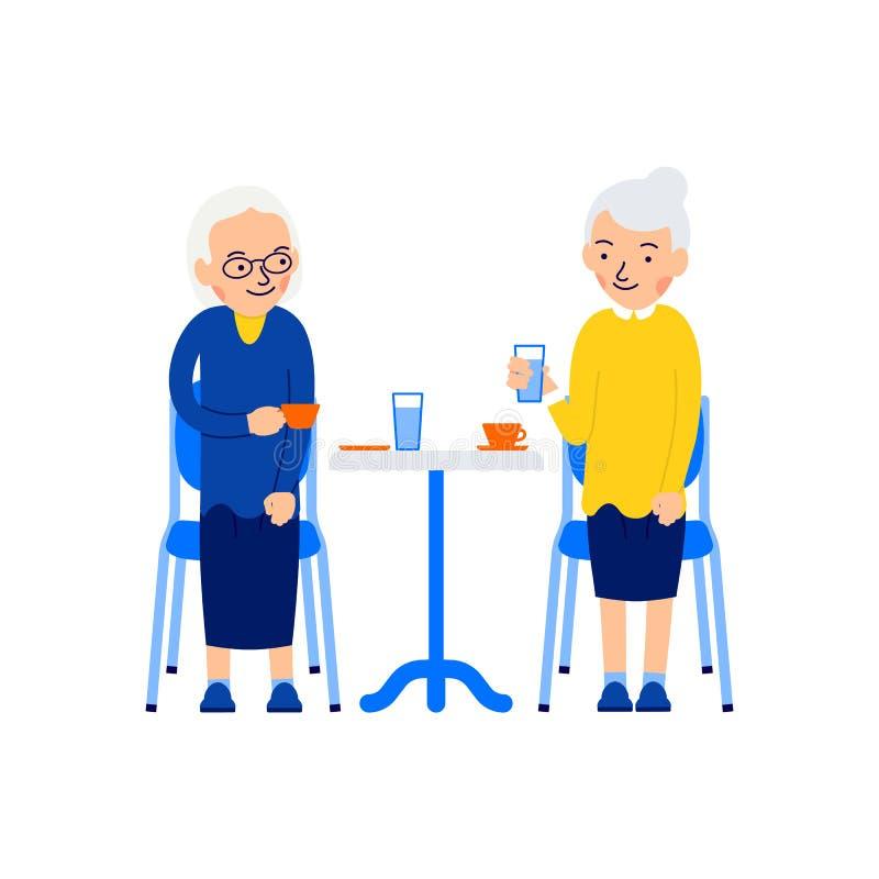 Mujer mayor que se sienta Dos m?s viejas mujeres se sientan en la tabla y caf? o t? de la bebida Caf? de consumici?n mayor Viejas ilustración del vector