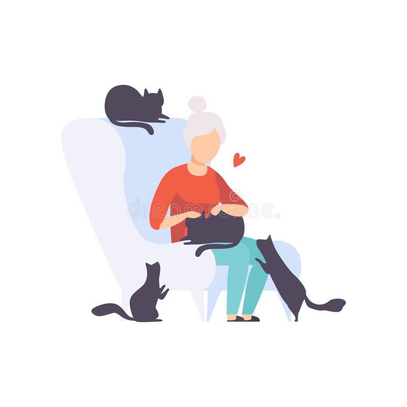 Mujer mayor que se sienta en la butaca rodeada por los gatos negros, los animales domésticos adorables y su ejemplo del vector de stock de ilustración