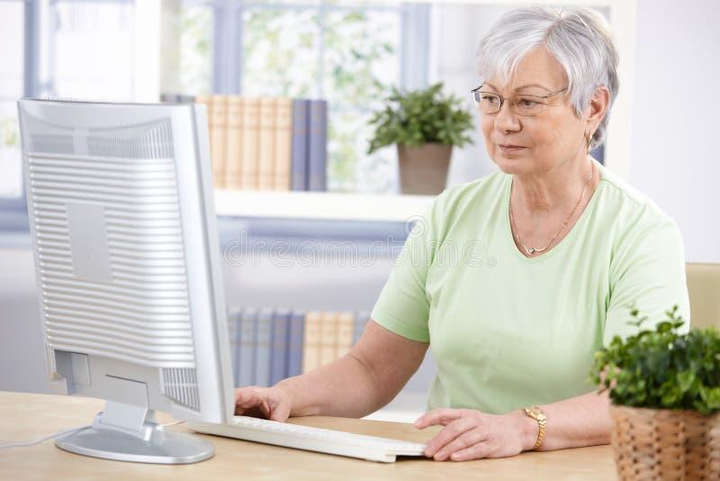 Mujer mayor que usa el ordenador en el país imágenes de archivo libres de regalías
