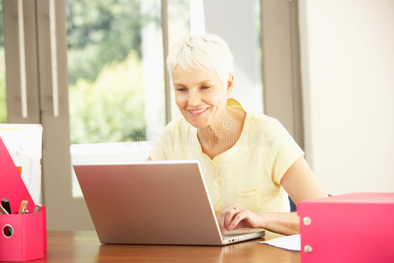 Mujer mayor que usa una computadora portátil en el país fotos de archivo