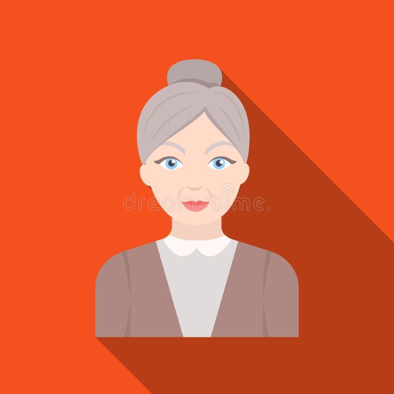 Mujer mayor Solo icono de la edad avanzada en web plano del ejemplo de la acción del símbolo del vector del estilo ilustración del vector