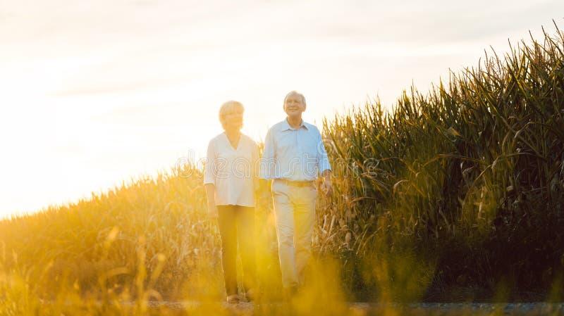 Mujer mayor y hombre que tienen un paseo a lo largo de un campo fotos de archivo libres de regalías