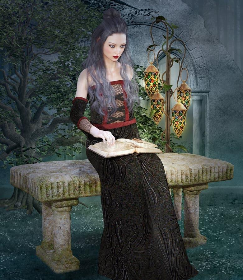 Mujer medieval hermosa con un libro abierto libre illustration